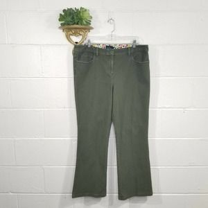 Boden Dark Green Brushed Cotton Bootcut Pants Stretch 18R Plus